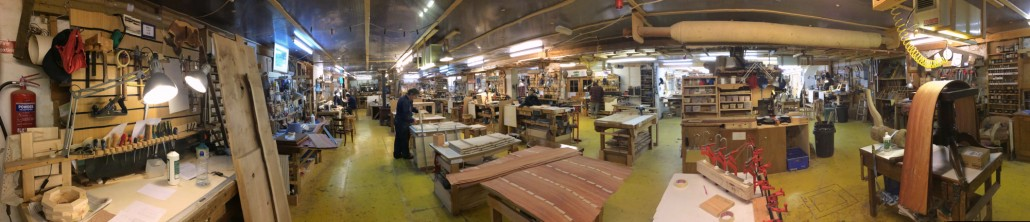 A panoramic photo of the Chippendale Furniture School workshop.